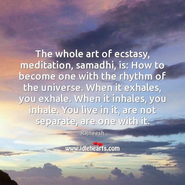 Image, The whole art of ecstasy, meditation, samadhi, is: How to become one