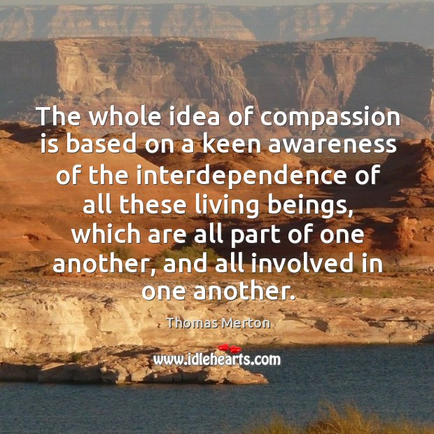 The whole idea of compassion is based on a keen awareness of the interdependence Image