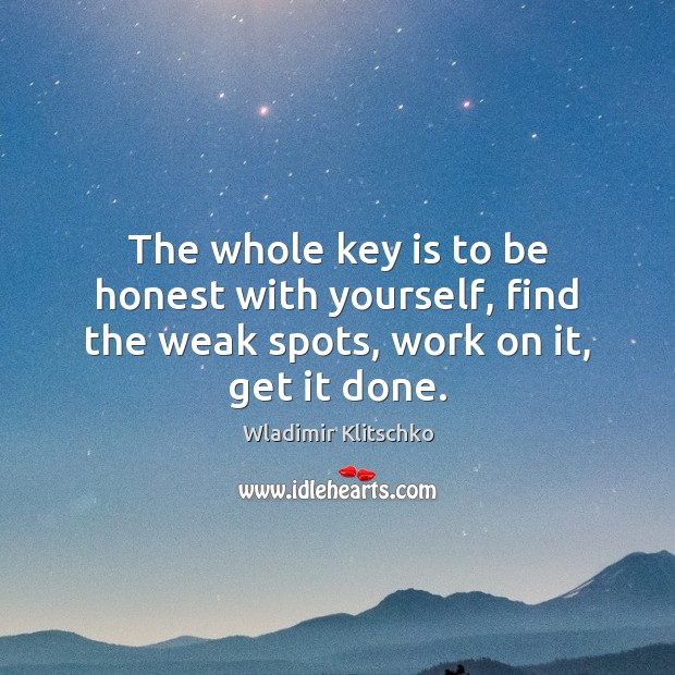 Image, The whole key is to be honest with yourself, find the weak spots, work on it, get it done.