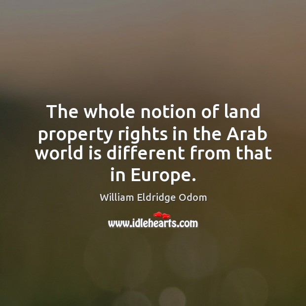 Image, The whole notion of land property rights in the Arab world is
