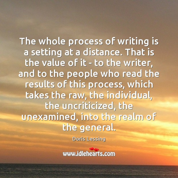The whole process of writing is a setting at a distance. That Doris Lessing Picture Quote