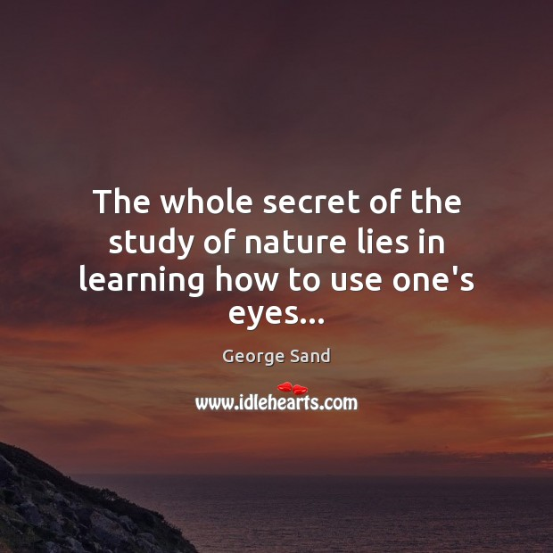 The whole secret of the study of nature lies in learning how to use one's eyes… George Sand Picture Quote