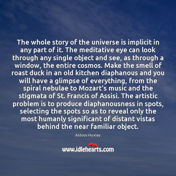 Image, The whole story of the universe is implicit in any part of