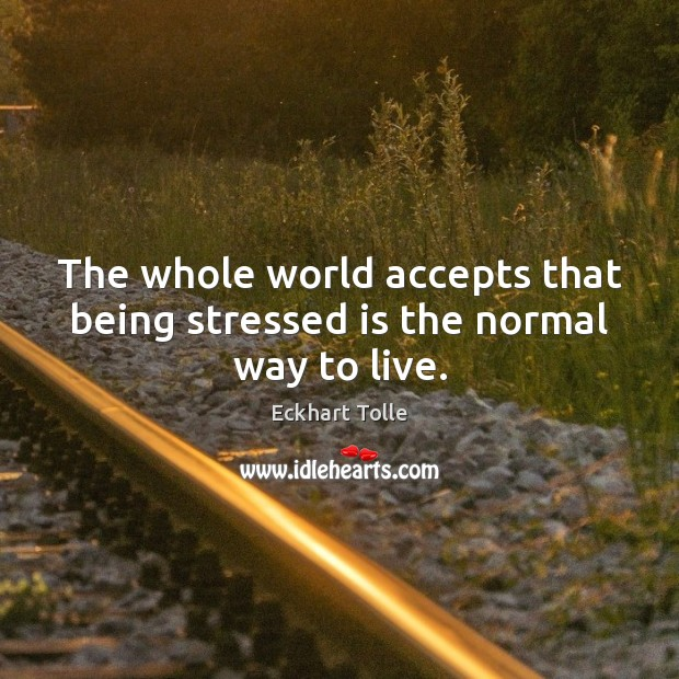 The whole world accepts that being stressed is the normal way to live. Eckhart Tolle Picture Quote