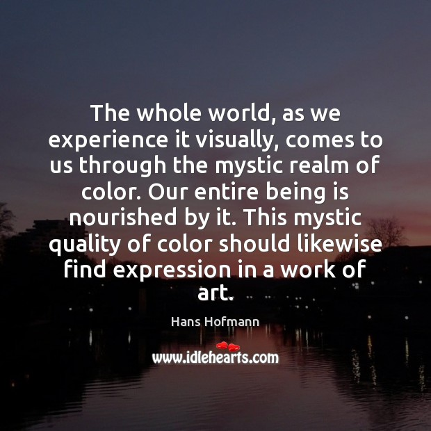 The whole world, as we experience it visually, comes to us through Hans Hofmann Picture Quote