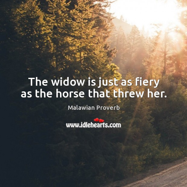 The widow is just as fiery as the horse that threw her. Malawian Proverbs Image