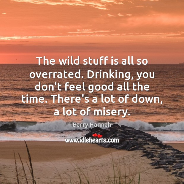 The wild stuff is all so overrated. Drinking, you don't feel good Image
