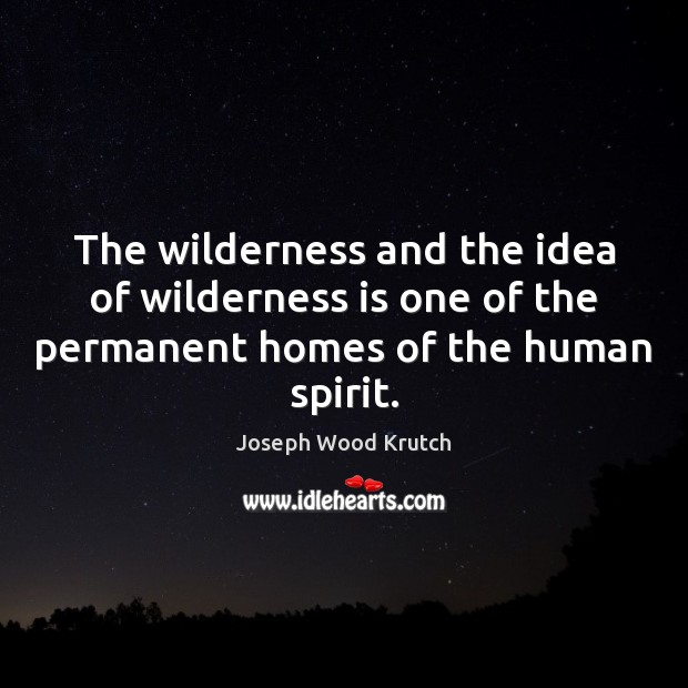 The wilderness and the idea of wilderness is one of the permanent Joseph Wood Krutch Picture Quote