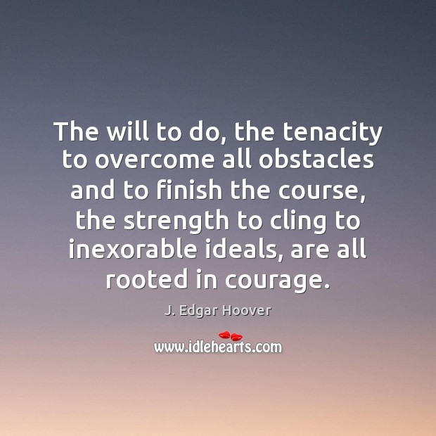 The will to do, the tenacity to overcome all obstacles and to J. Edgar Hoover Picture Quote