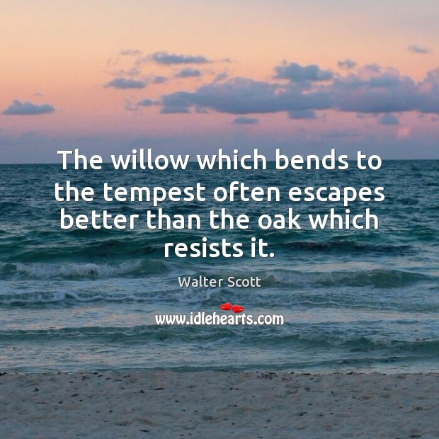 The willow which bends to the tempest often escapes better than the oak which resists it. Walter Scott Picture Quote