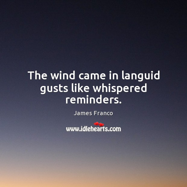 The wind came in languid gusts like whispered reminders. James Franco Picture Quote