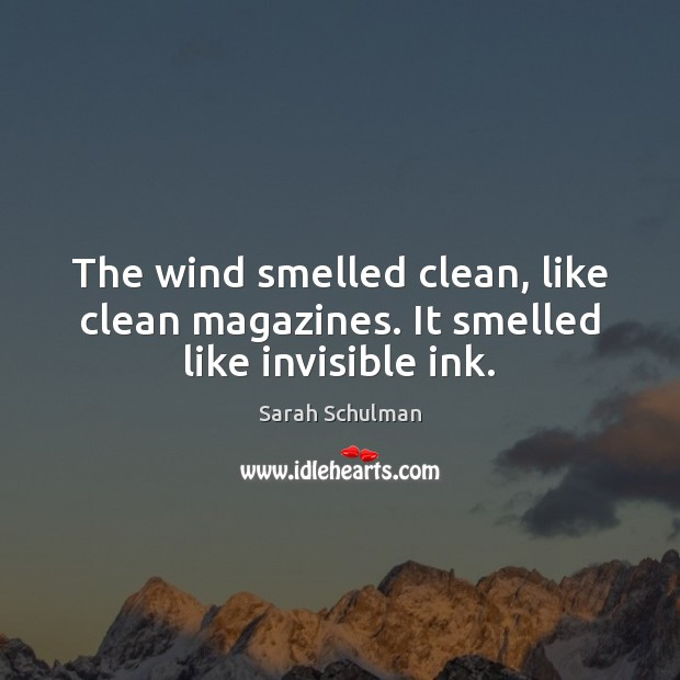 The wind smelled clean, like clean magazines. It smelled like invisible ink. Image
