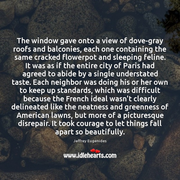The window gave onto a view of dove-gray roofs and balconies, each Image