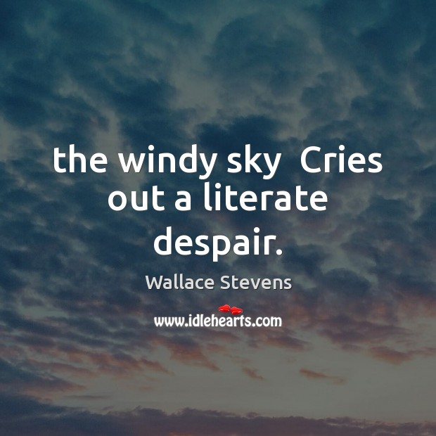 The windy sky  Cries out a literate despair. Image