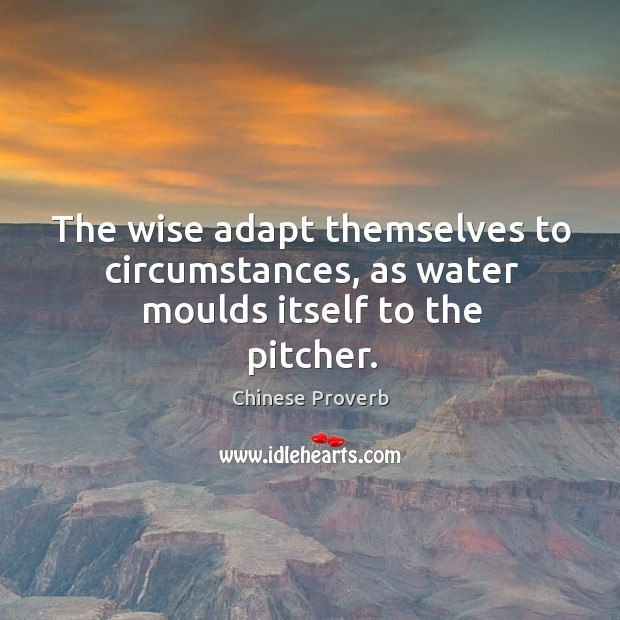 The wise adapt themselves to circumstances, as water moulds itself to the pitcher. Image