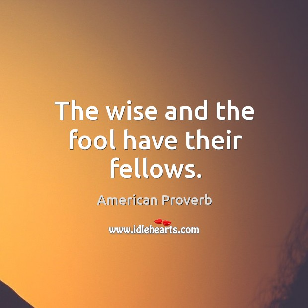 Image, The wise and the fool have their fellows.