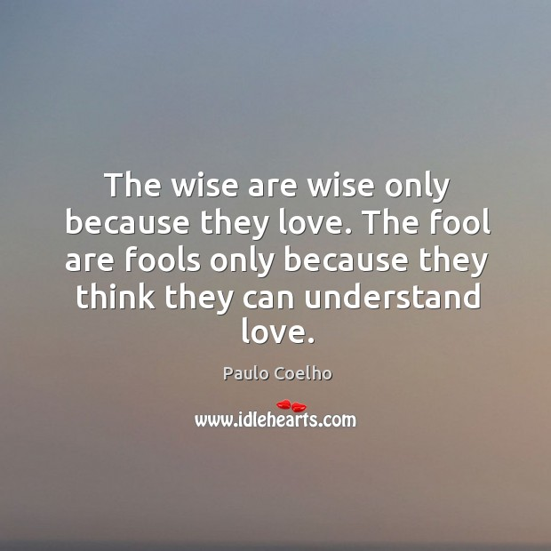 The wise are wise only because they love. The fool are fools only because they think they can understand love. Image