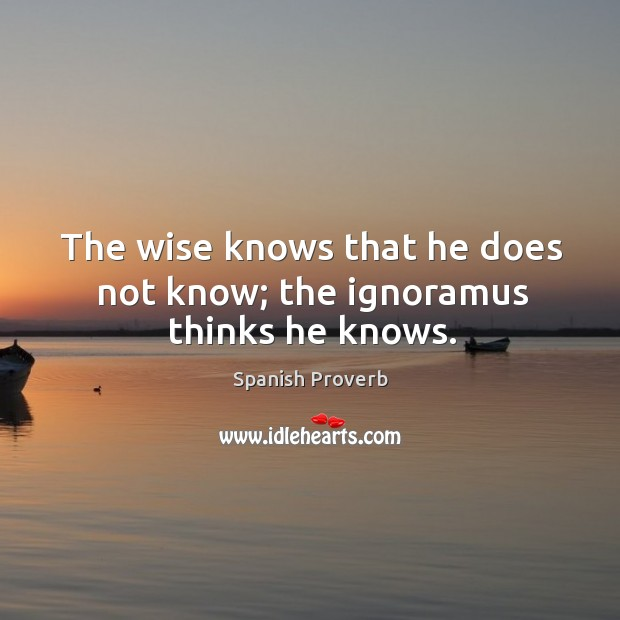 Image, The wise knows that he does not know; the ignoramus thinks he knows.