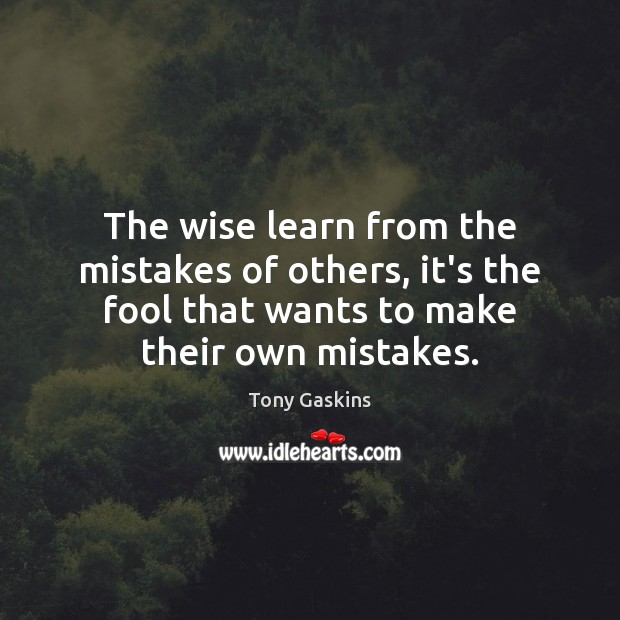 The wise learn from the mistakes of others, it's the fool that Tony Gaskins Picture Quote