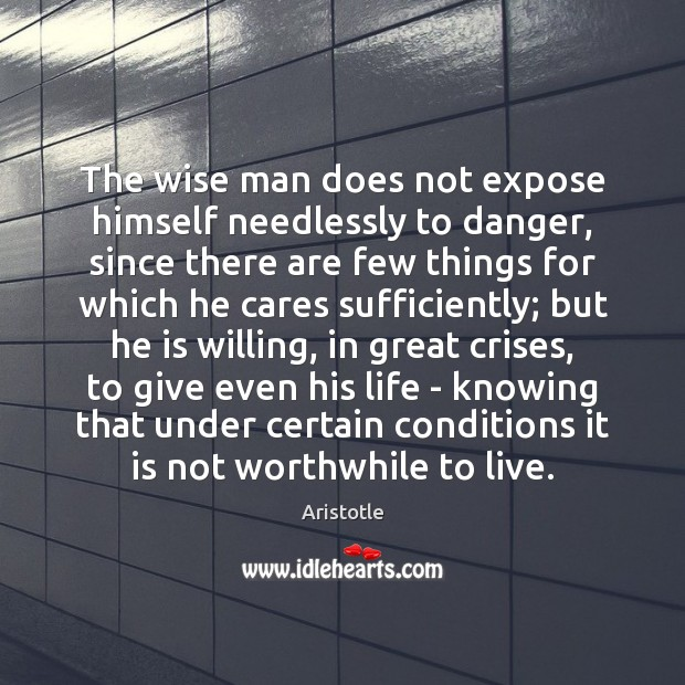 Image, The wise man does not expose himself needlessly to danger, since there