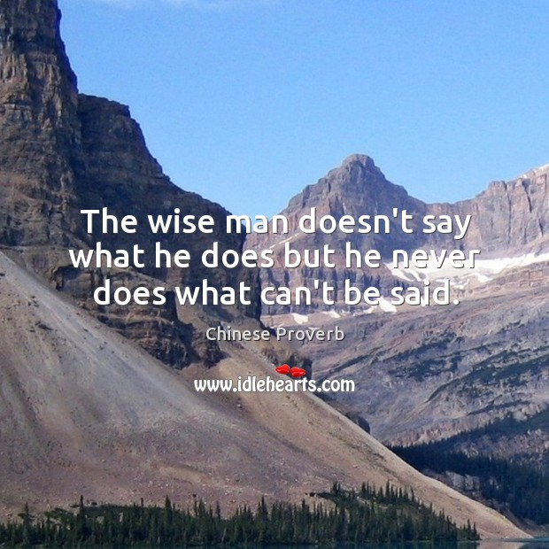 Image, The wise man doesn't say what he does but he never does what can't be said.