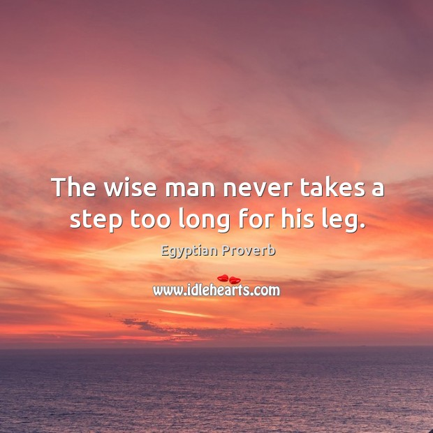 The wise man never takes a step too long for his leg. Egyptian Proverbs Image
