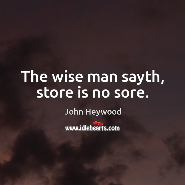 The wise man sayth, store is no sore. Image
