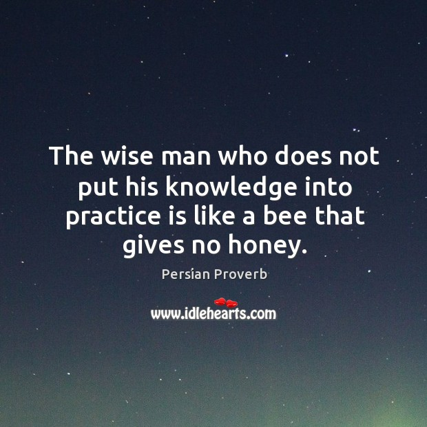 Image, The wise man who does not put his knowledge into practice is like a bee that gives no honey.