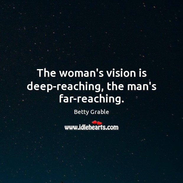 Image, The woman's vision is deep-reaching, the man's far-reaching.