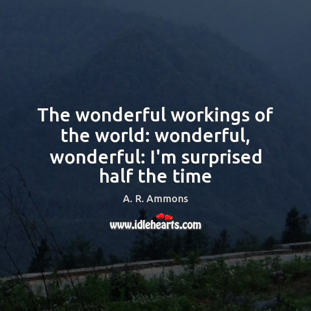 Image, The wonderful workings of the world: wonderful, wonderful: I'm surprised half the time