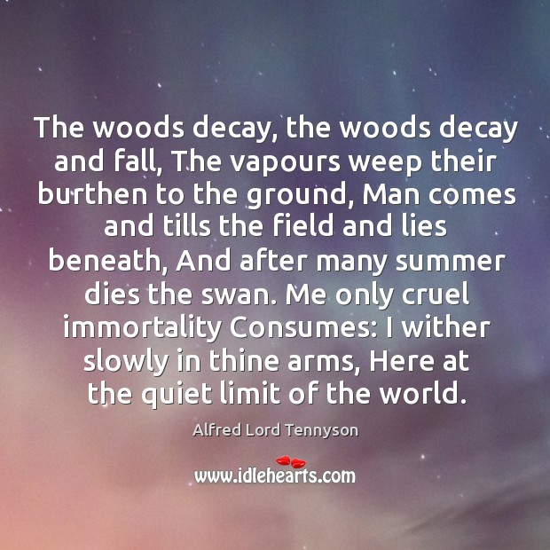 Image, The woods decay, the woods decay and fall, The vapours weep their