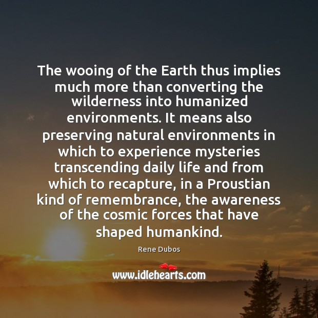 The wooing of the Earth thus implies much more than converting the Rene Dubos Picture Quote