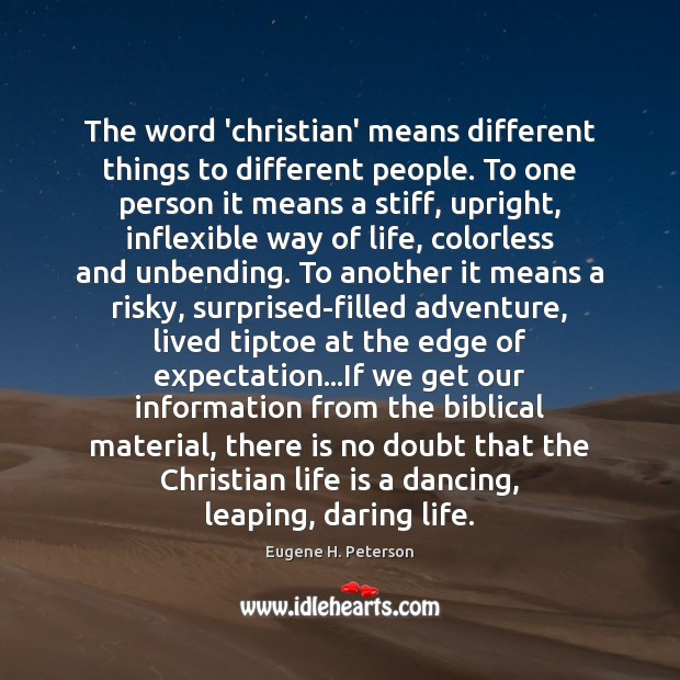 Image, The word 'christian' means different things to different people. To one person
