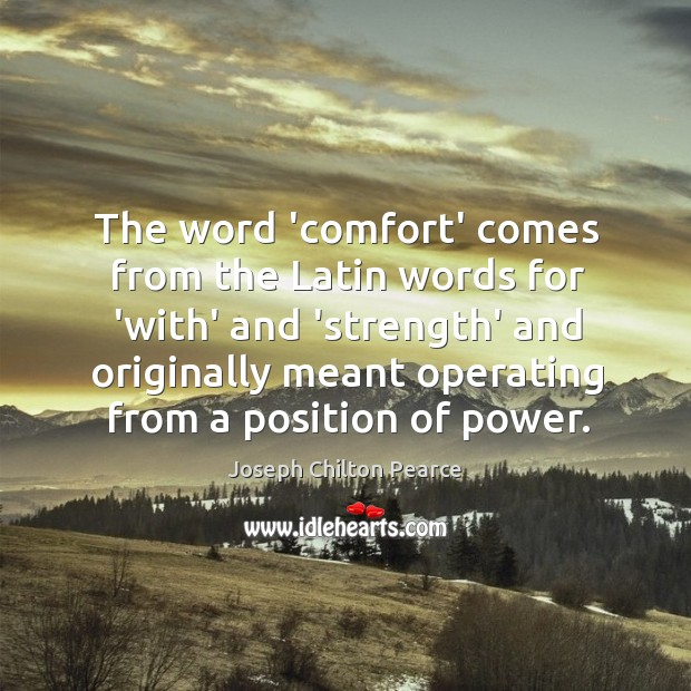 The word 'comfort' comes from the Latin words for 'with' and 'strength' Image
