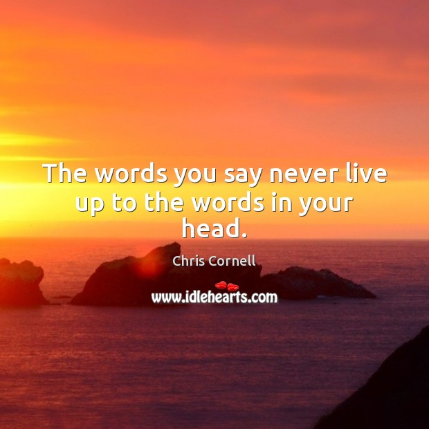 The words you say never live up to the words in your head. Chris Cornell Picture Quote