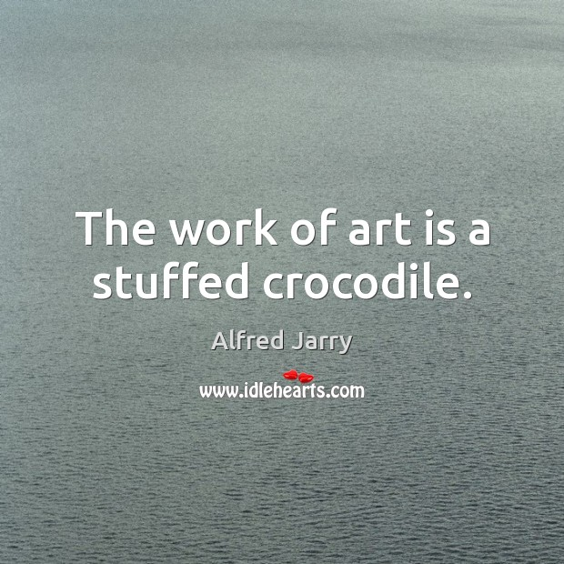 Image, The work of art is a stuffed crocodile.