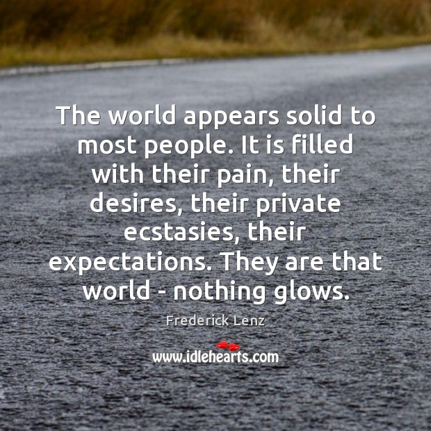 The world appears solid to most people. It is filled with their Image