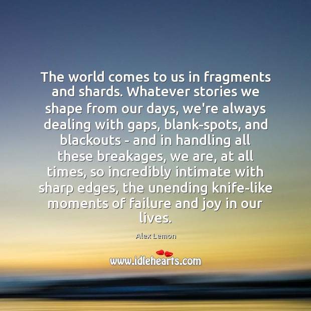 The world comes to us in fragments and shards. Whatever stories we Image