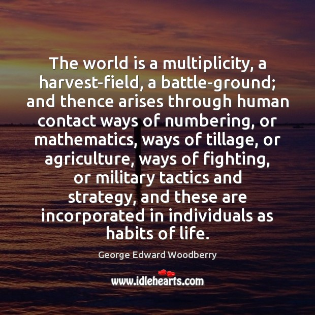 The world is a multiplicity, a harvest-field, a battle-ground; and thence arises Image