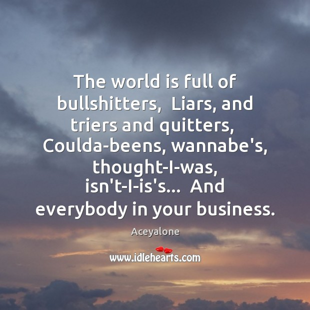 Image, The world is full of bullshitters,  Liars, and triers and quitters,  Coulda-beens,
