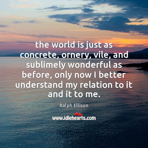 The world is just as concrete, ornery, vile, and sublimely wonderful as Ralph Ellison Picture Quote