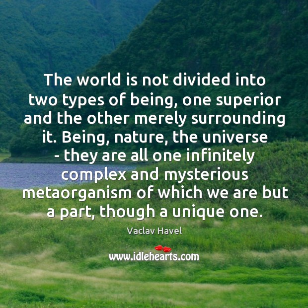 The world is not divided into two types of being, one superior Image