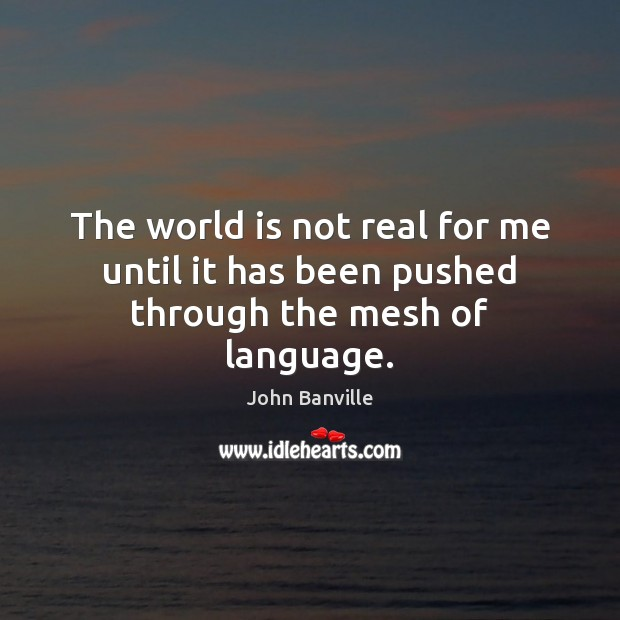 The world is not real for me until it has been pushed through the mesh of language. John Banville Picture Quote