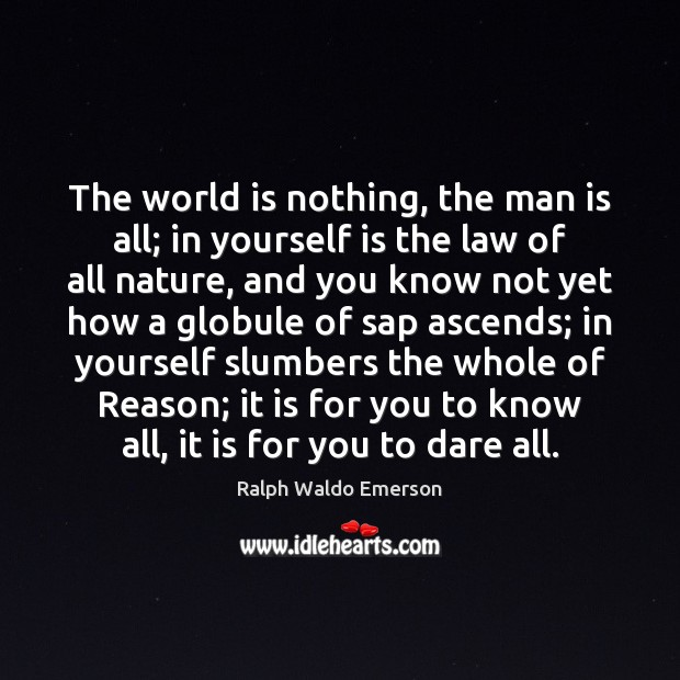 The world is nothing, the man is all; in yourself is the Image