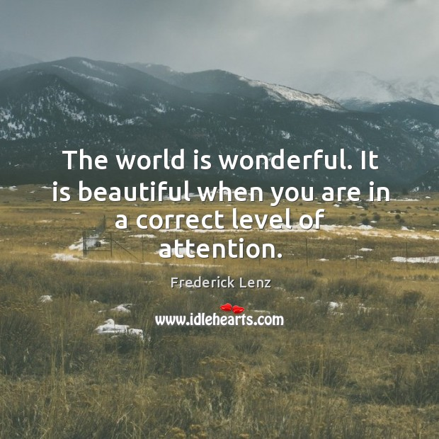 Image, The world is wonderful. It is beautiful when you are in a correct level of attention.