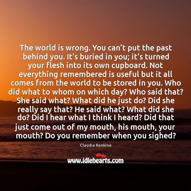 The world is wrong. You can't put the past behind you. It's Claudia Rankine Picture Quote