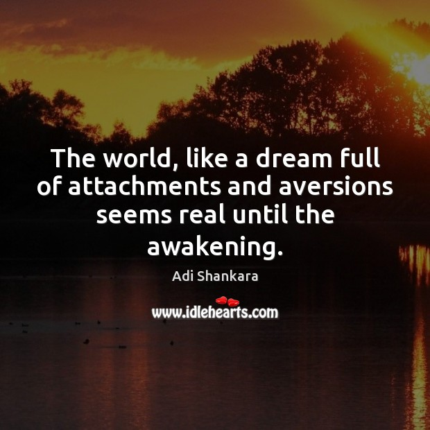 The world, like a dream full of attachments and aversions seems real until the awakening. Image