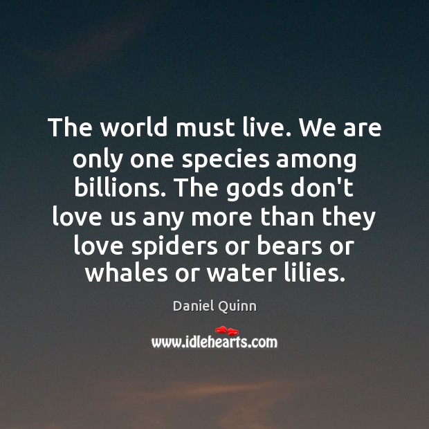 The world must live. We are only one species among billions. The Image