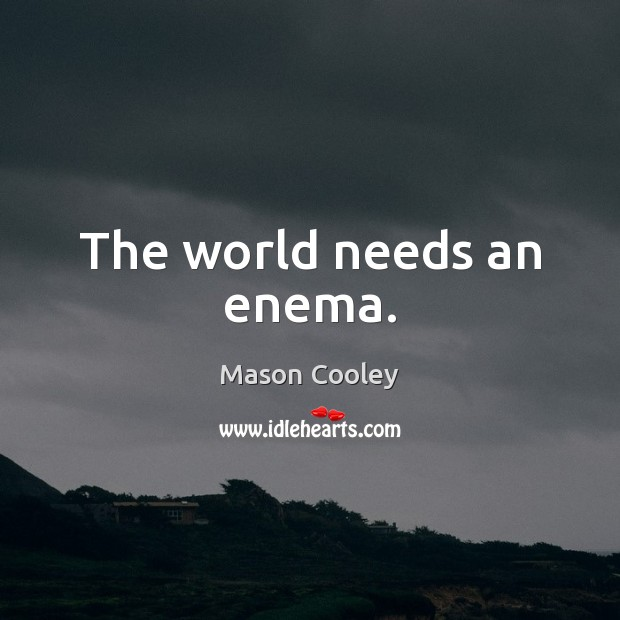 The world needs an enema. Mason Cooley Picture Quote