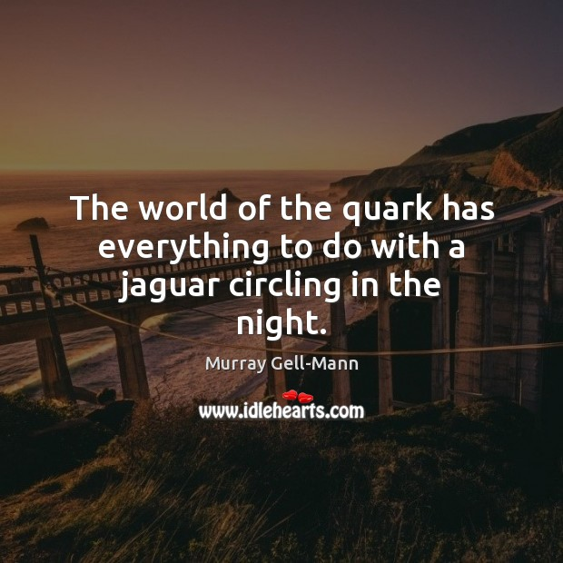Image, The world of the quark has everything to do with a jaguar circling in the night.